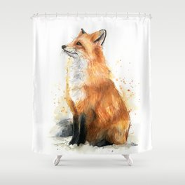 Fox Watercolor Red Fox Painting Shower Curtain