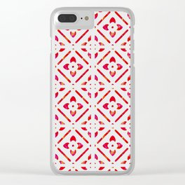 Retro Red Pattern Clear iPhone Case