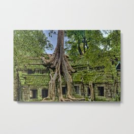 Ancient tree roots growing on Angkor Wat Temple Ruins Photographic Print Metal Print