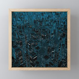 Night light city / Lineart city in blue Framed Mini Art Print