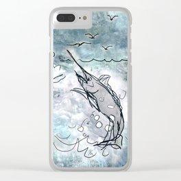 Fishing swordfish Clear iPhone Case