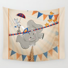Elephant on tightrope Wall Tapestry