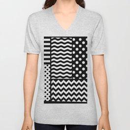 Mixed Patterns (Horizontal Stripes/Polka Dots/Wavy Stripes/Chevron/Checker) Unisex V-Neck