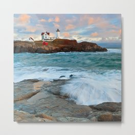 Nubble Lighthouse Pillow Metal Print