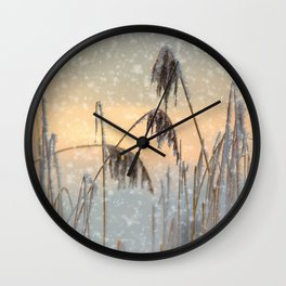 Phragmites Reed grass in the snowfall Wall Clock