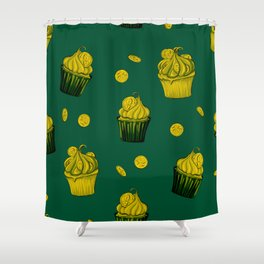 Retro Vintage St Patricks Day Green Luck Gift Coins Shower Curtain
