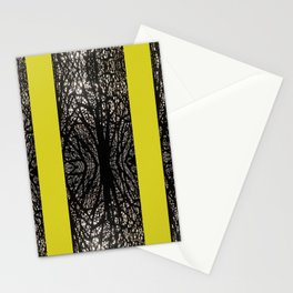 Gothic tree striped pattern mustard yellow Stationery Cards