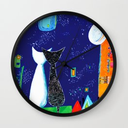Midnight Cats Wall Clock
