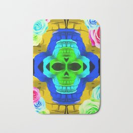 funny skull portrait with colorful roses in pink blue yellow green Bath Mat