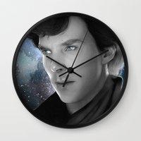 sherlock holmes Wall Clocks featuring Sherlock Holmes by Caim Thomas