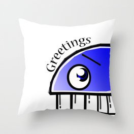 Greetings from a blue whale Throw Pillow