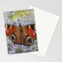 Peacock eye butterfly on meadow flowers Stationery Cards