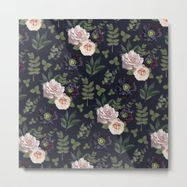Pressed Floral Plum Metal Print