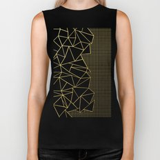 Ab Outline Grid Black and Gold Biker Tank