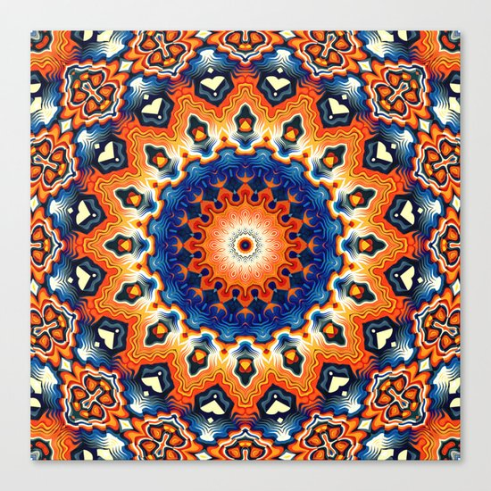 Geometric Orange And Blue Symmetry Canvas Print