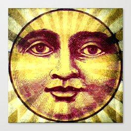Vintage Sun Face Canvas Print