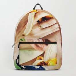 Hot sexy girl with banana us flag bra Backpack
