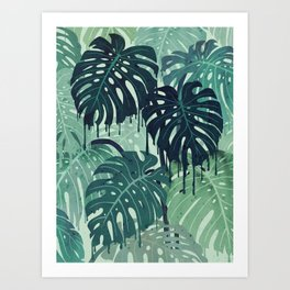 Monstera Melt (in Green) Art Print