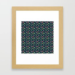 Colorful bunnies on navy background Framed Art Print