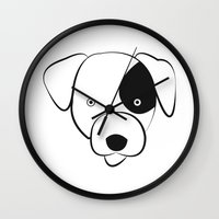 jack russell Wall Clocks featuring Jack Russell by anabelledubois