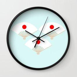 Japan Flag On Japanese Fan Wall Clock