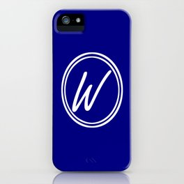 Monogram - Letter W on Navy Blue Background iPhone Case