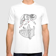 On the bear's uncontrollable urge to toss his master in the air MEDIUM White Mens Fitted Tee