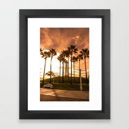Sunset at Long Beach, California Lighthouse Framed Art Print