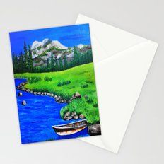 River bank with little old boat Stationery Cards