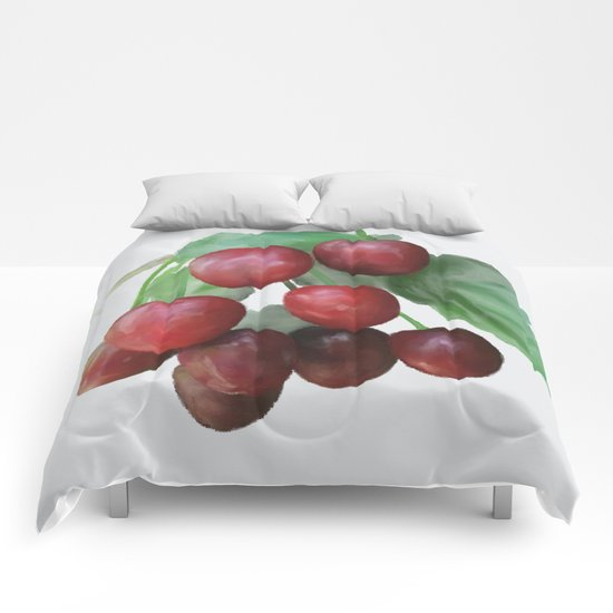 Sour Cherry, watercollor Comforters