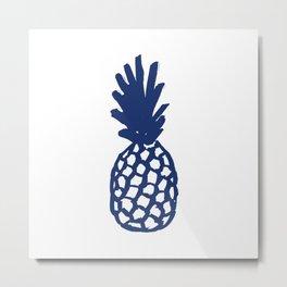 Navy Pineapple Metal Print