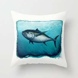 Bluefin Tuna ~ Watercolor Painting by Amber Marine,(Copyright 2016) Throw Pillow