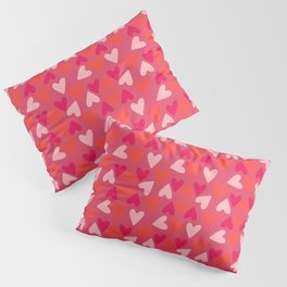 Hearts, Light Pink, Coral, and Pink 2 Pillow Sham