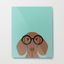 Remy - Daschund with Fashion glasses, hipster glasses, hipster dog, doxie,  Metal Print