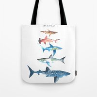 sharks Tote Bags featuring Sharks by Amee Cherie Piek