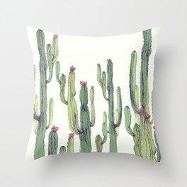 Cactus field Throw Pillow