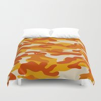 military Duvet Covers featuring Orange Military Camouflage Pattern by SW Creation