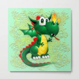 Baby Dragon Cute Cartoon  Metal Print