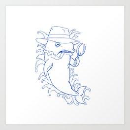 Detective Orca Killer Whale Drawing Art Print