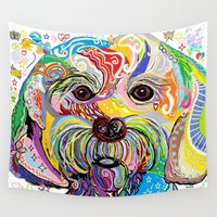 puppy Wall Tapestries featuring Maltese Puppy by EloiseArt