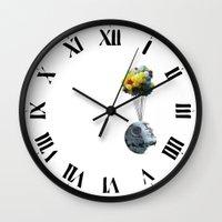 death star Wall Clocks featuring Death Star by J Styles Designs