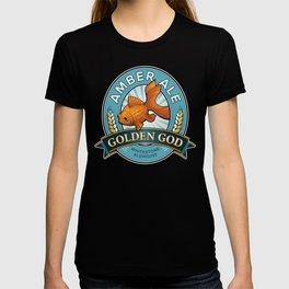 Golden God Amber Ale label T-shirt