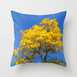 Blooming tree Geometric yellow and blue Throw Pillow