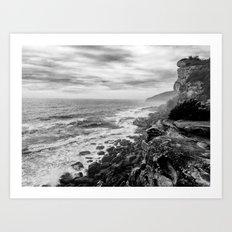 Rocky Cliffs B+W Art Print