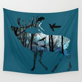 Forest Spirit - Blues Wall Tapestry