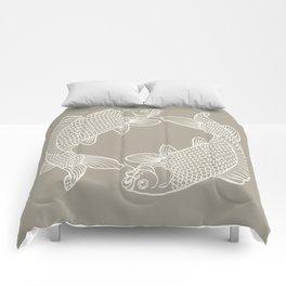 Gray Grey Alabaster Koi Fishes Comforters