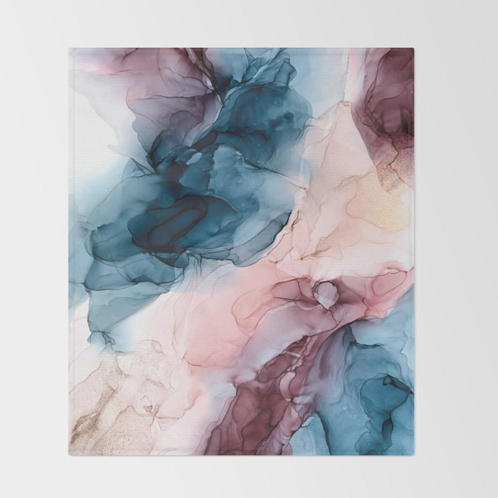 Pastel Plum, Deep Blue, Blush and Gold Abstract Painting Throw Blanket