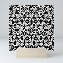 Minimal - white polka circles and dots on black - Mix&Match with Simplicty of life Mini Art Print