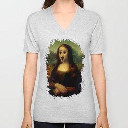 Haunted Mona Lisa Unisex V-Neck