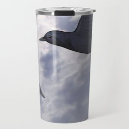 crows in the stormy sky Travel Mug